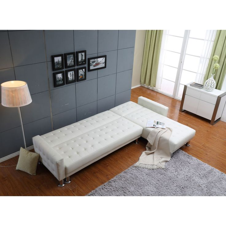 Marsden White Tufted Bi Cast Leather 2 Piece Sectional Sofa Bed The Hom Sleeper Sofas Sofa