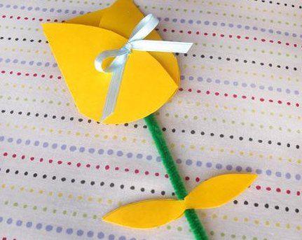 チューリップの手作りカード画像