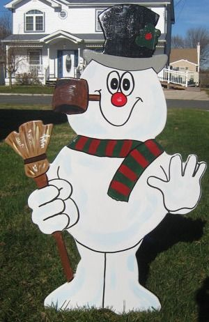 Snowman Christmas wooden painted lawn ornament