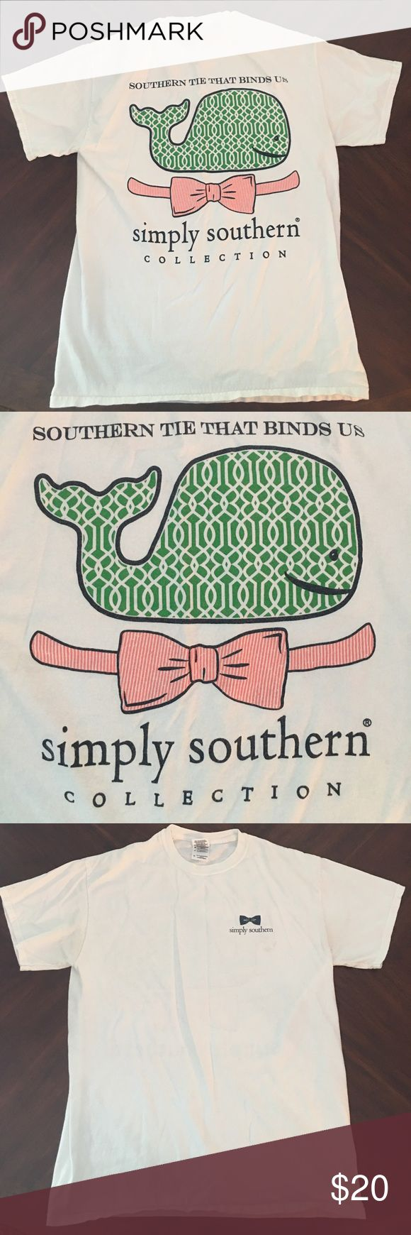 Simply Southern Tee Super cute white whale simply southern Tee, similar to vineyard vines. Perfect for summer. Has small mark on the front of the shirt but should come out with a wash! Simply Southern Tops Tees - Short Sleeve