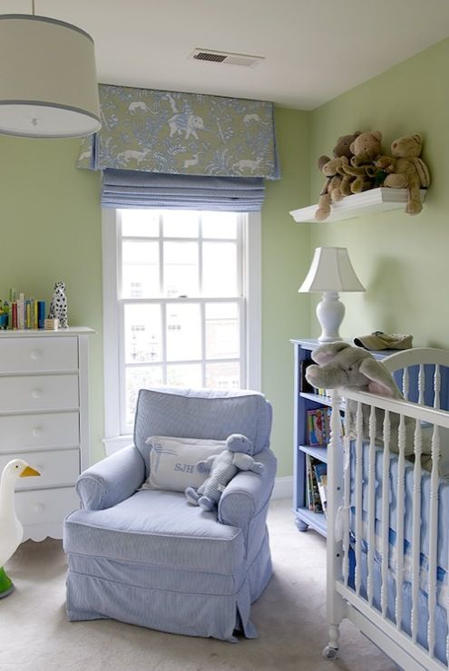 Suzie: Finnian's Moon Interiors - Adorable blue & green nursery design with green walls paint ...