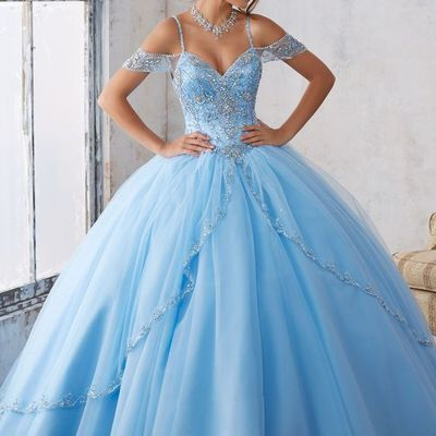 Blue beaded ball gown,off the shoulder prom dress,custom made evening dress,17266