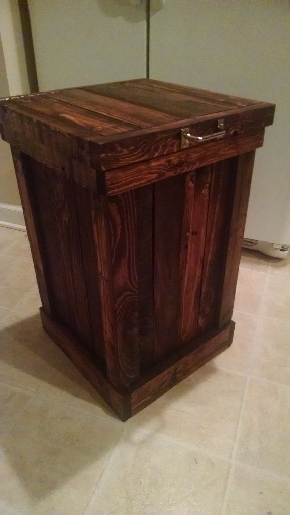 Rustic Kitchen Trash Can- Trash Bin- Garbage Can This is a Wooden Trash Can for the kitchen. It is handcrafted from Reclaimed Oak and Walnut
