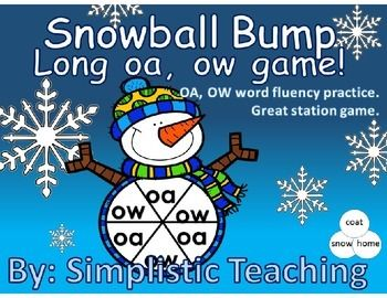 FREEBIE!!!! Game board to practice fluency for OA and OW long o vowel sounds. Students spin a vowel team, read a matching word and place a counter over their word. The winner is the one with the most snowballs covered at the end of play. Then they can clear the board off and begin again. Great practice for familiarizing them with various OA and OW long o words.   Great for K enrichment, end of 1st grade curriculum, beginning of 2nd grade curriculum, or RTI for 3rd grade reading ELA common…