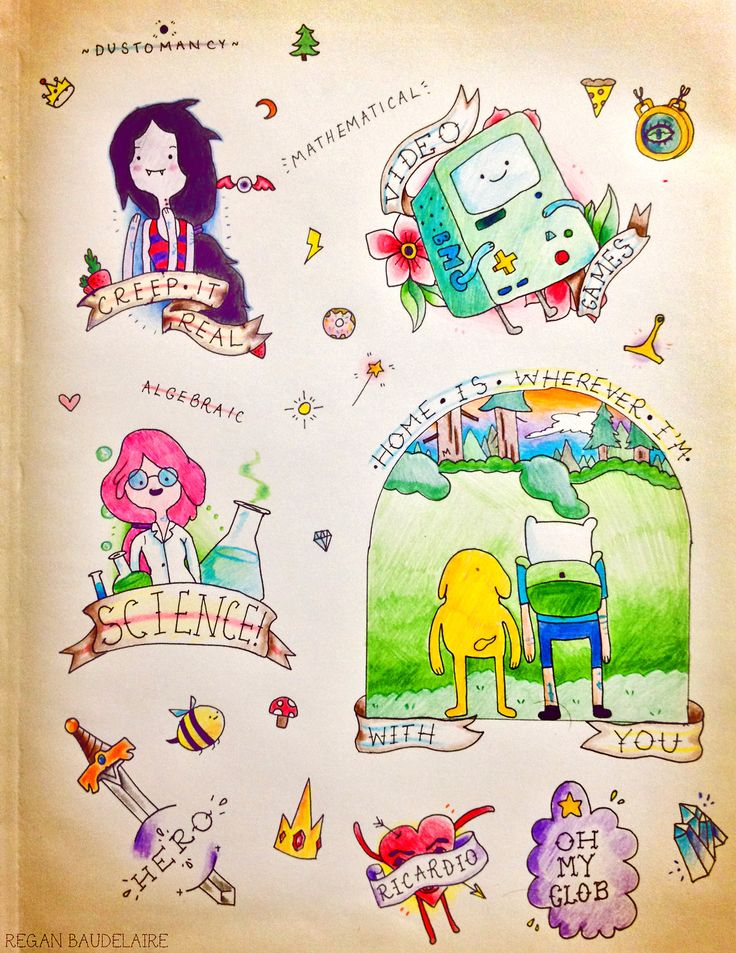 So I made some Adventure Time flash tattoos! (The ...