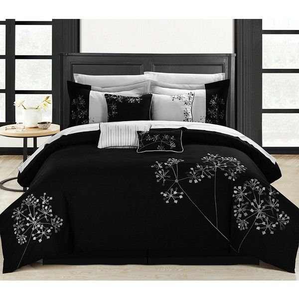 Chic Home Pink Floral 8-Piece Embroidered Comforter Set, Queen,... ($96) ❤ liked on Polyvore featuring home, bed & bath, bedding, comforters, pink queen comforter, queen comforter sets, black and white floral comforter, queen bedding and pink comforter set