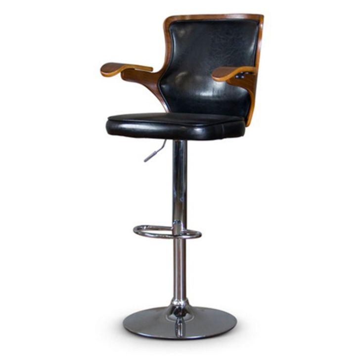 Baxton Studio Hamilton Bar Stool - SDM-2383 WALNUT/BLACK-BS