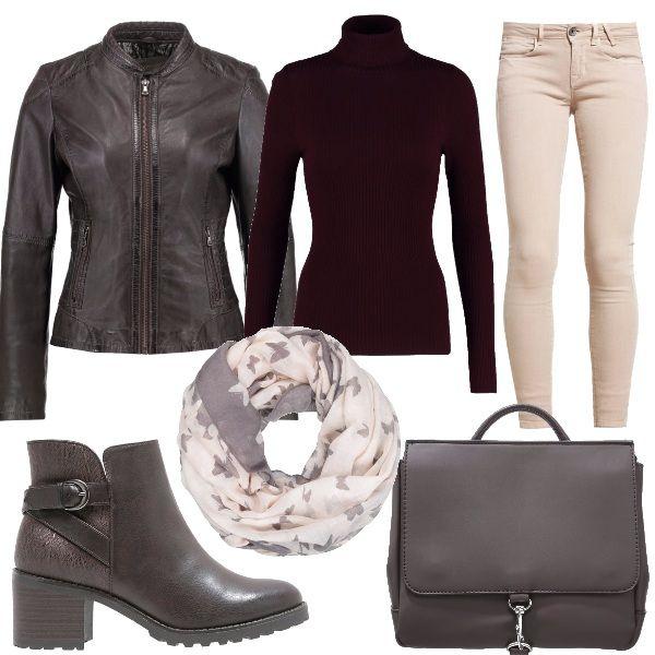 Look per tutti i giorni composto da un jeans Skinny Fit beige, pullover a collo alto dark burgundy, giacca di pelle marrone, tronchetti marrone scuro. Come accessori ho abbinato una borsa marrone scuro ed uno scaldacollo.
