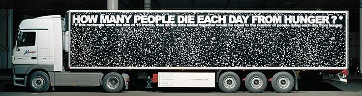Jochen Gerz; Poignant work that has importance as conceptual art and the ability to involve those that are touched with its creation in a dynamic way.This was a mobile art intervention against poverty ,aids,violence racism and environmental destruction.