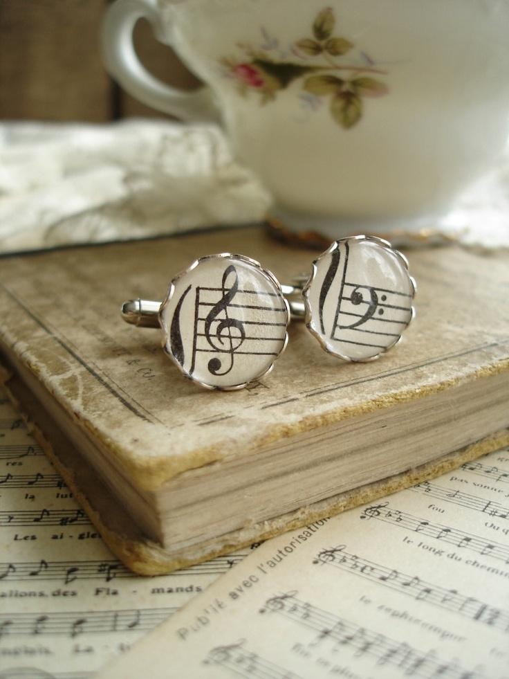 HARMONY - Music Cufflinks. Vintage Sheet Music Cufflinks. Antique Silver Cuff Links Treble & Bass Clef. Mens Jewelry. Sheet Music Jewelry.