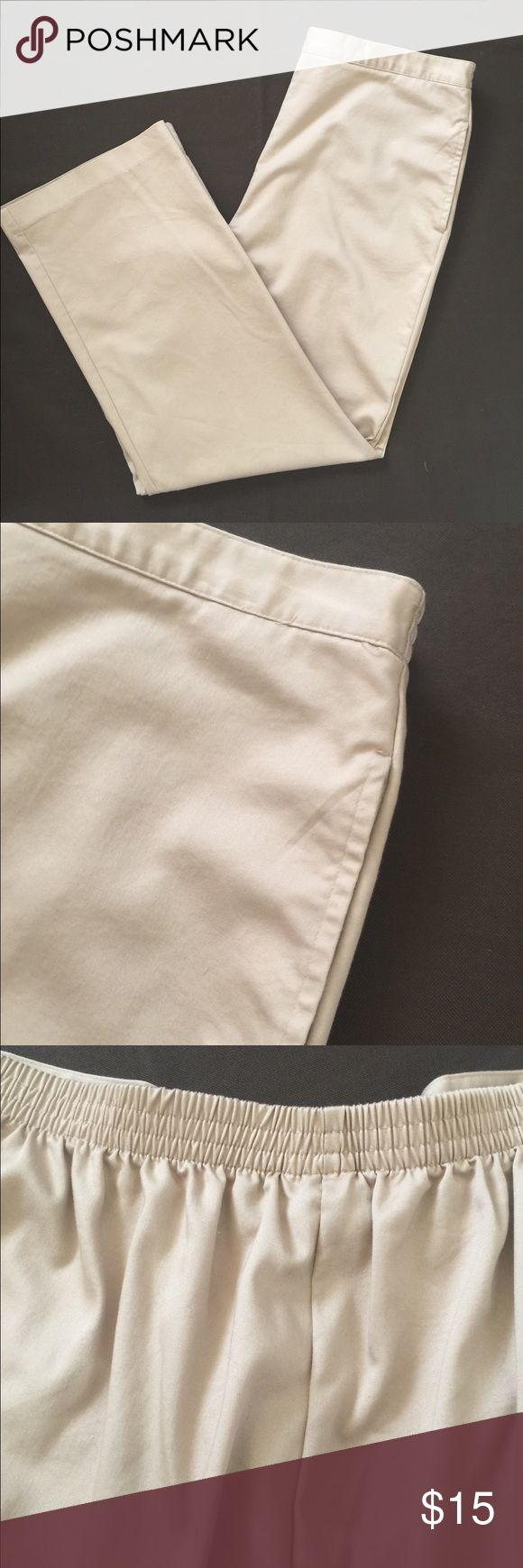 "Smooth tan pants Smooth cotton. Smooth waist band in front with elastic in back. Side pockets. Very sharp looking.  Only wore once to a meeting. Inseam 29"" Alfred Dunner Pants Trousers"
