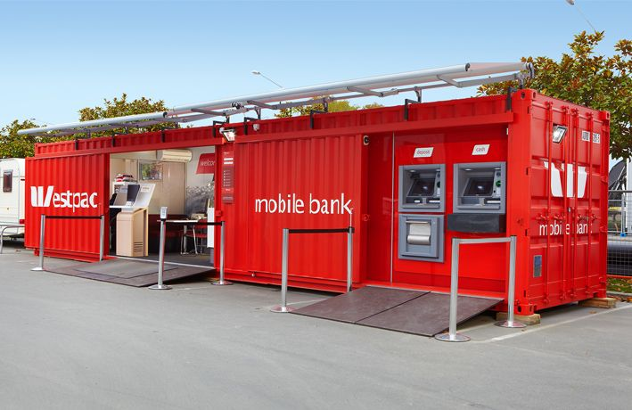"Context Architects: As an innovative and immediate response to the Canterbury Earthquake Context worked with Westpac to convert an existing low use 40"" (29 sqm) shipping container into a mobile bank."