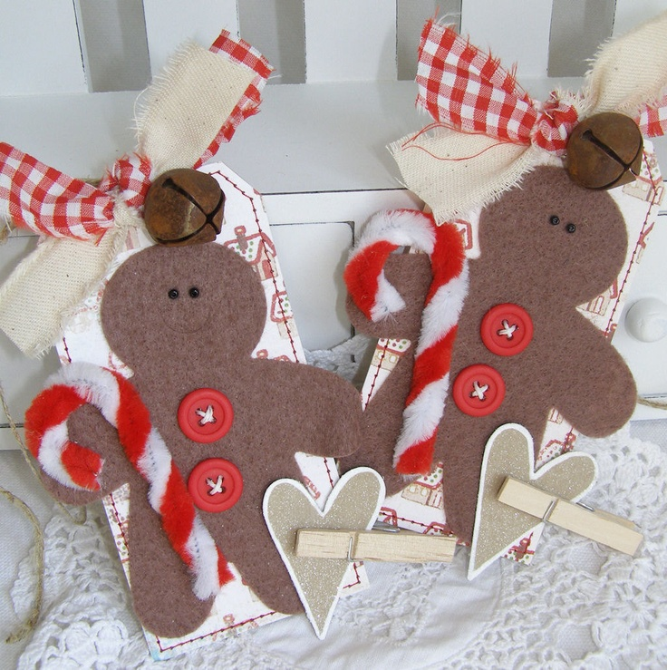 Gingerbread men country themed handmade christmas gift tag Country christmas gifts to make