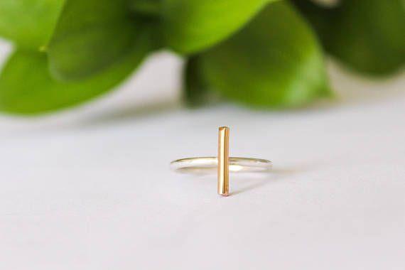 Gold Bar Ring Ring gemengde metalen Ring minimalistische