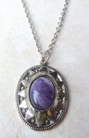 Vintage Amethyst Tumble Stone Necklace By Hollywood.