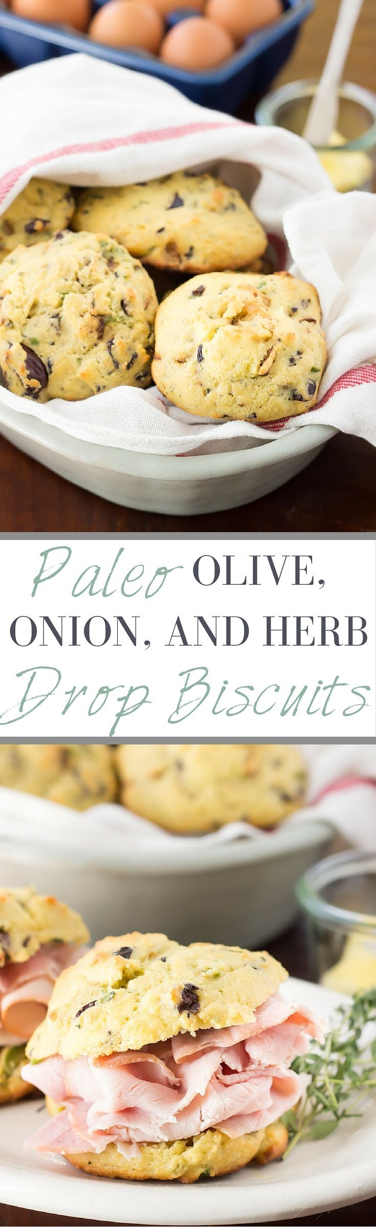 These Easy Paleo Drop Biscuits get jazzed up with olives, caramelized onions, and fresh herbs. Perfect for little sandwiches or a great roll alternative!