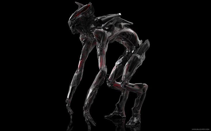 The Runner: concept art of an alien creature from upcoming sci-fi movie Berserkers. By CG artist Vitaly Bulgarov. #cg #render #mech