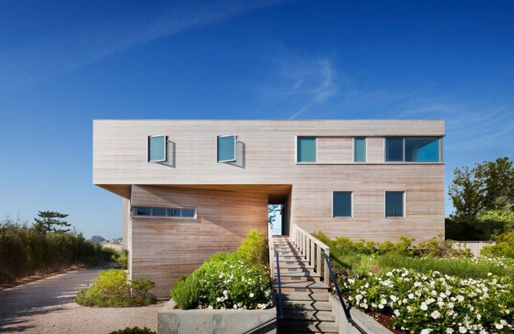 ... Bay View In Minimalist Wood Style And Simple Wood Bridge To The House