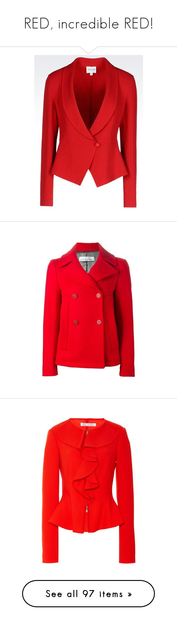"""""""RED, incredible RED!"""" by lorika-borika on Polyvore featuring outerwear, jackets, blazers, red, veste, crepe blazer, red blazer jacket, collar jacket, armani collezioni jacket и red blazers"""