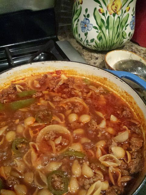 Hackbarth Home: Conchitas con Carne (Mexican Hamburger and Shells)...