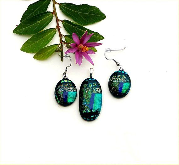 blue Gold green dichroic glass pendant and earring set