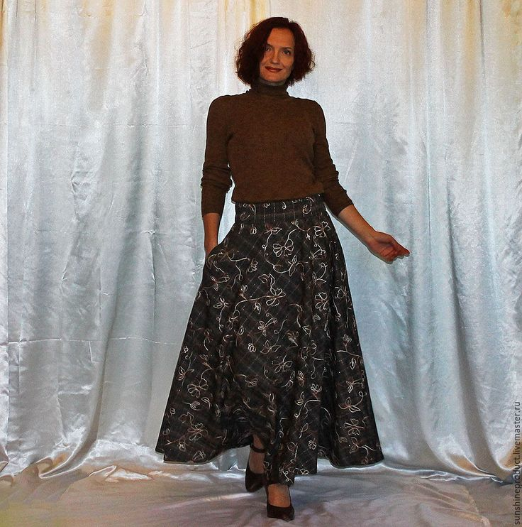 """Купить Юбка """"Осенняя ОЧЕНЬ УДОБНАЯ"""" - в клеточку, юбка осенняя, юбка макси, юбка длинная"""