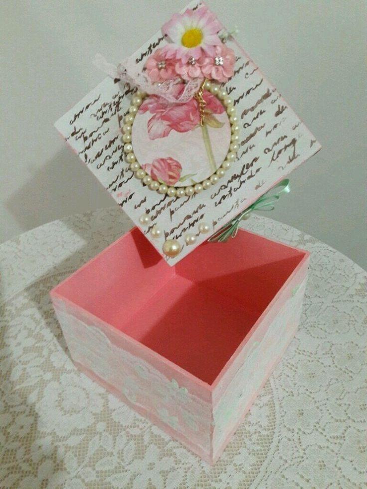 Caixa Shabby Chic Flores Rosa - Box Artesanato