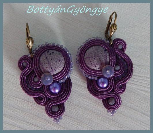 Purple asymmetric soutache earrings  small by BottyanGyongye