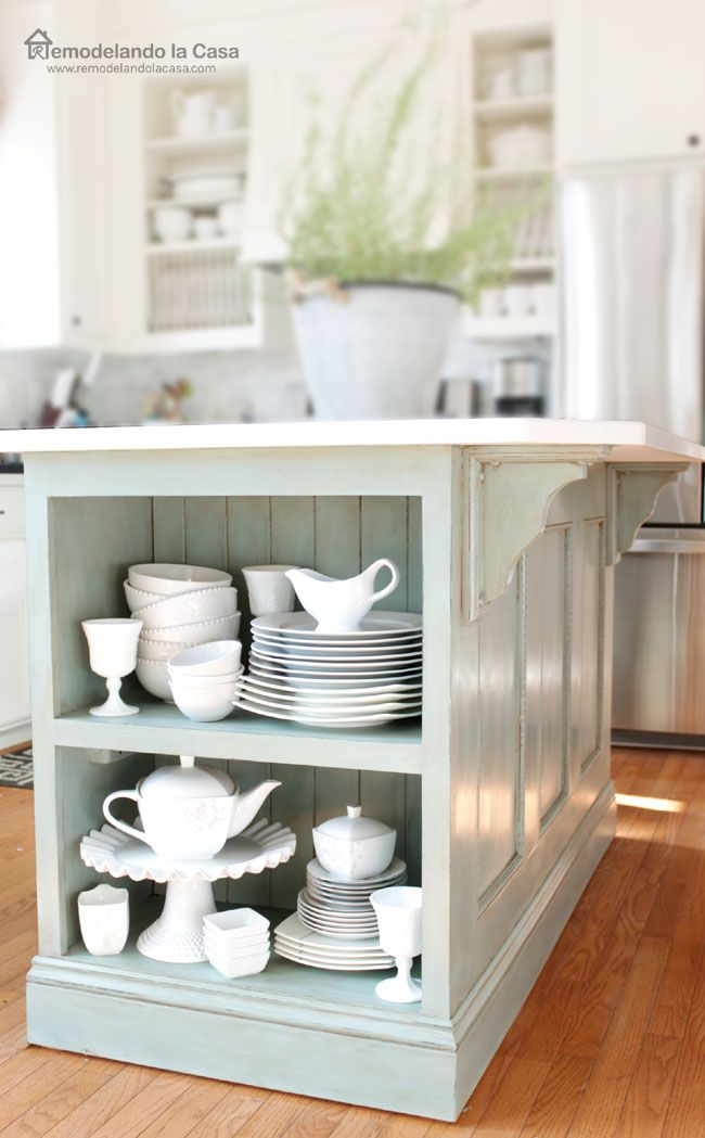 Freshen up the look of your kitchen by painting the kitchen island. ASCP Duck Egg + glaze