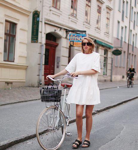 white dress + birkenstocks