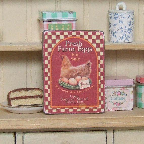 Poppenhuis miniatuur vers boerderij eieren door sarahslilessentials