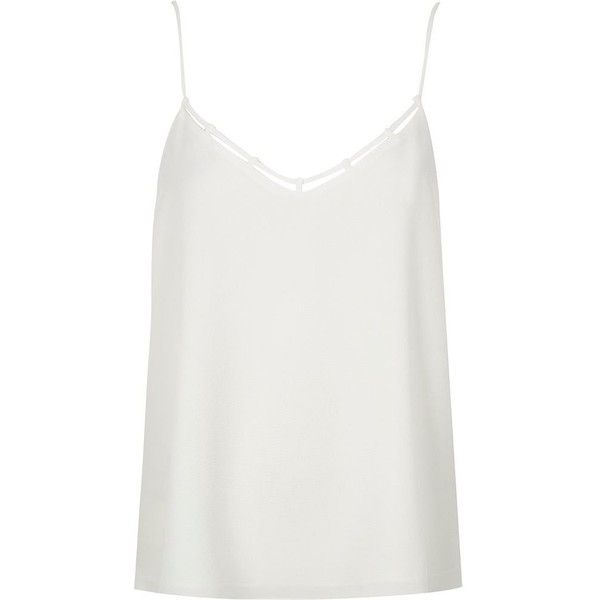 River Island White strappy cami (45 AUD) ❤ liked on Polyvore featuring intimates, camis, tops, white, cami / sleeveless tops, women, white v neck cami, white camisole, white cami and white v neck camisole