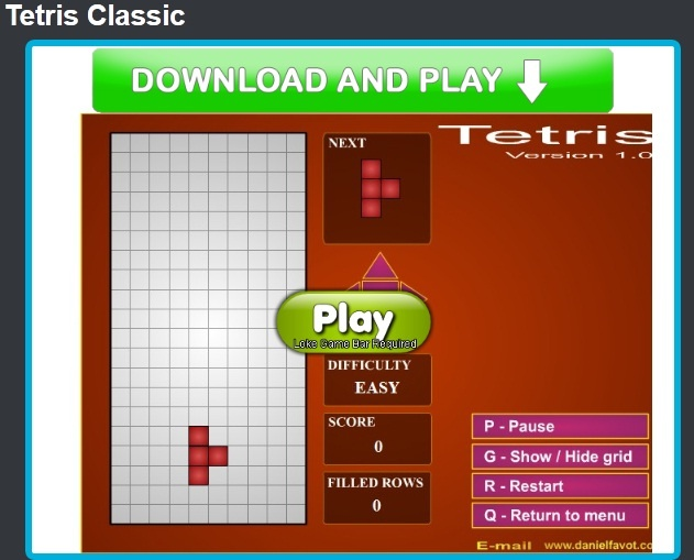 Test your reflexes & logic skills with this Classic, Colorful & Challenging, Classic Tetris  games in 1-2 player modes & three levels of difficulty.