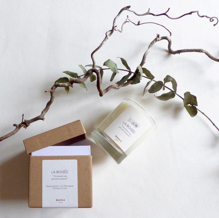 Bougie parfumée La Boisée Bianca Paris  www.biancaparis.fr  Eucalyptus Branche Bois Packaging Boite Coffret Blanc Or Kraft
