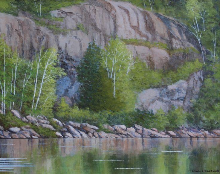 """""""Summer Reflections"""" - Long Lake 16 x 20 Original Acrylic www.lindamullola.com"""