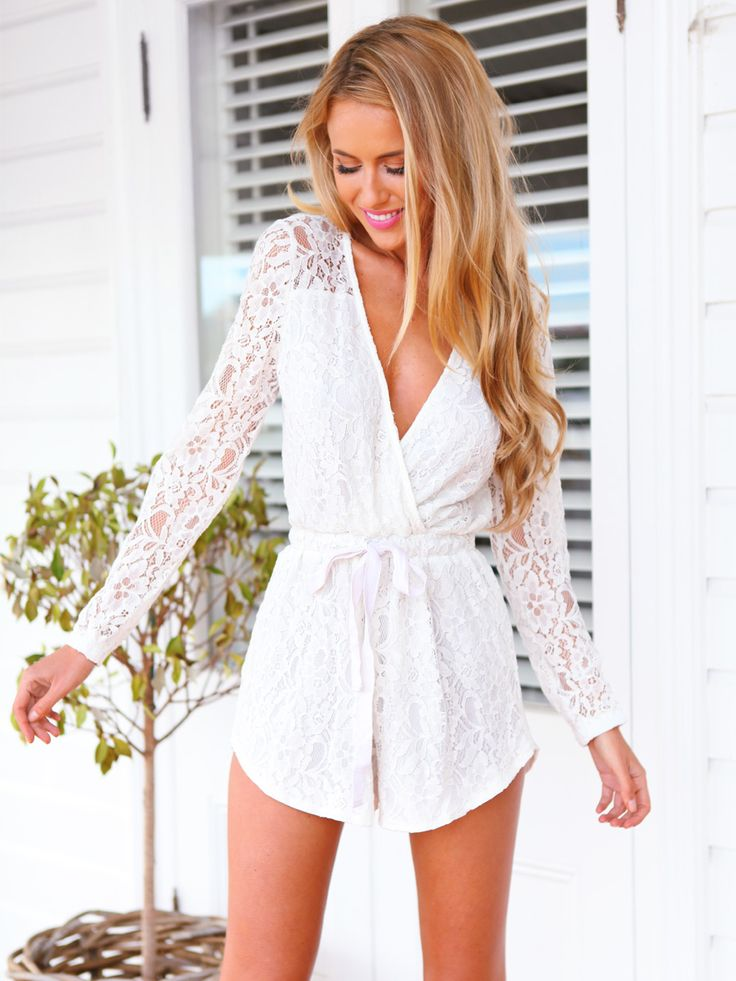 WARRIOR PLAYSUIT - white lace playsuit