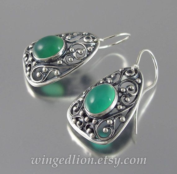GERTRUDE silver earrings with Green Onyx - Ready to ship