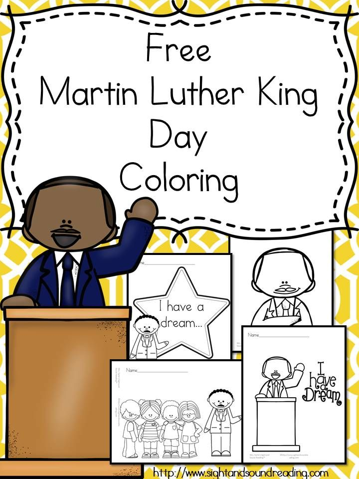 Preschool or Kindergarten Reading or Writing Activity -Help teach preschool and kindergarten students about Martin Luther King Jr. Using these free Martin Luther King Day Coloring Pages and book ideas.