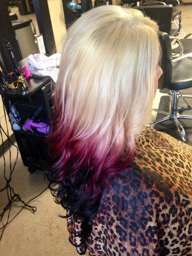 Blonde To Red Violet To Black Reverse Ombre Hair By Heather Pinterest Ios Black And