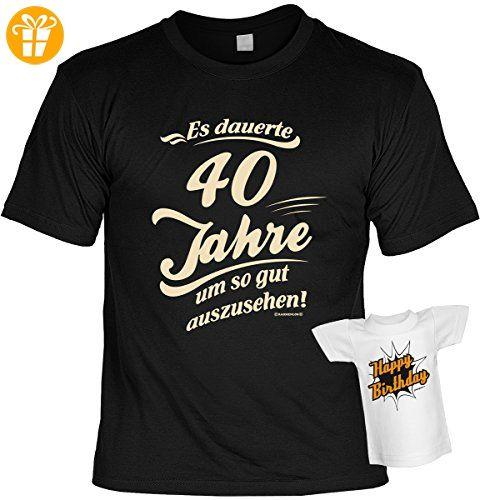 40 Geburtstag Tshirt Geschenkset 40 Jahre Sprüche : Es Dauerte 40 Jahre Um  So Gut Auszusehen!    Geburtstag T Shirt 40 + Mini T Shirt Für Flaschen !!