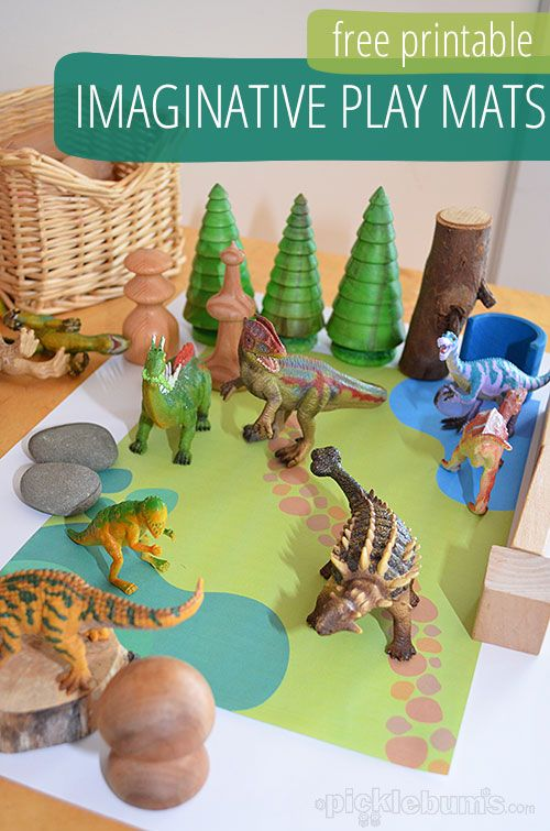Free printable imaginative play mats for kids.
