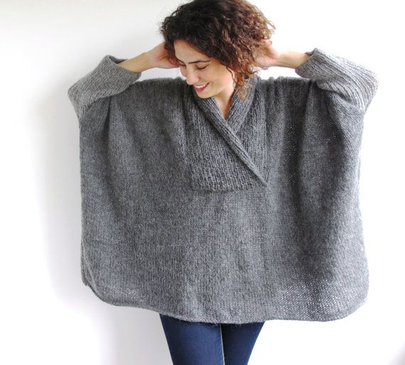 Plus Size Hand Knitted Sweater Grey Poncho Tunic Dress by afra