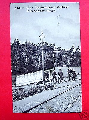 Most Southern Gas Lamp in World, Invercargill, New Zealand - PC PU 1910 (P1462) in Collectables, Postcards, Topographical: Rest of World | eBay