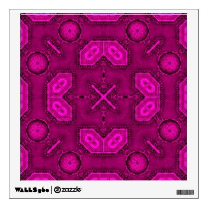 Victorian Art Deco Medieval Pattern bright pink Wall Decal - walldecals home decor cyo custom wall decals