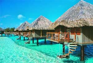 Tahiti is quite often referred to as the Isle of Love.    Palm tree lined beaches, azure waters, verdant tree lined peaks and crystal like lagoons, all make Tahiti a true vacation paradise. Thatched Roof, Buckets Lists, Favorite Places, Dreams Vacations, Places I D, Best Quality, Travel, Honeymoons, Borabora