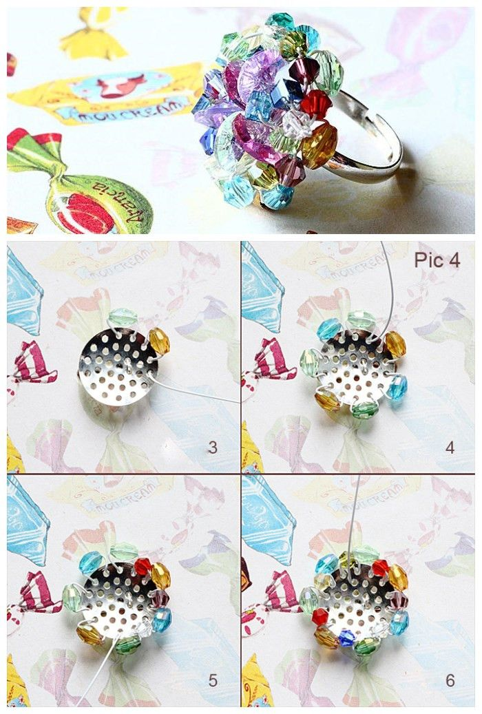 5 minutes to create a colorful beaded cluster ring!