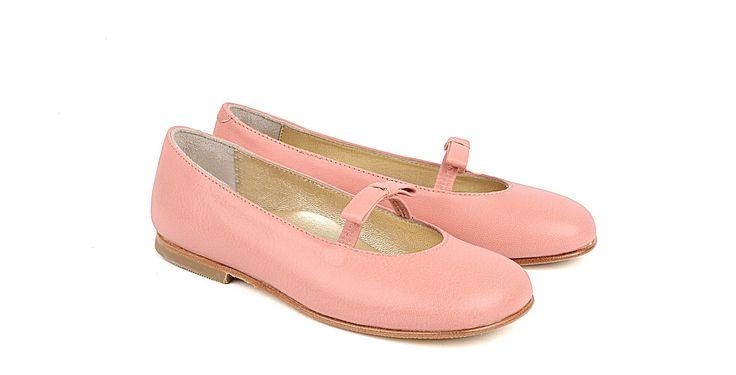 2613/Salmone Ballerina in nappa salmone, suola in cuoio. #galluccishoes #kids #shoes #ballerine #nappa #girl #SS16