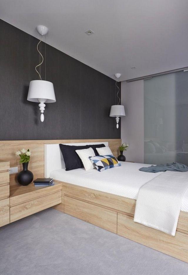 wandfarbe schlafzimmer dunkelgrau holzbett bettkasten integrierte nachttische