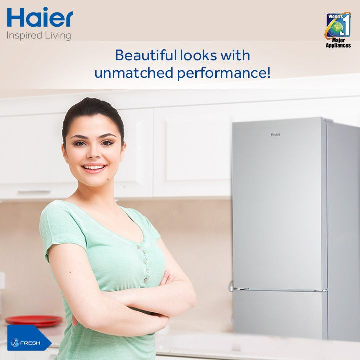 Your favorite #Haier's Bottom Mounted #refrigerator now blends the best of convenience and design. The beautiful Glass Door is easy to clean and thus stays at its best.