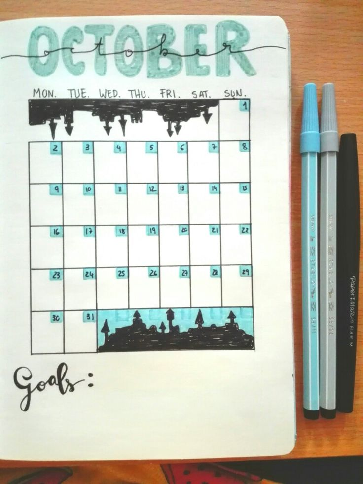 Bullet Journal PT - October17 - Plan with me - month tracker layout - Halloween style 🎃